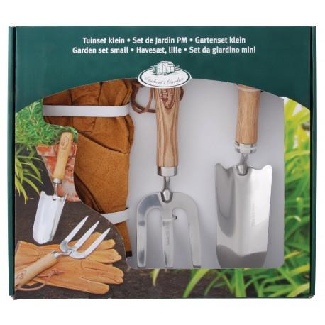 Zestaw dla ogrodnika skórzane rękawice, łopatka i widełki