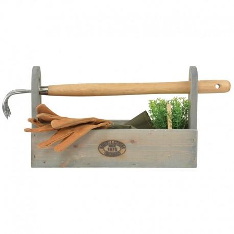 Drewniana skrzynka na narzędzia ogrodnicze organizer