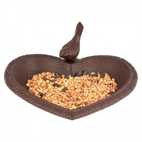 Żeliwne poidełko karmnik dla ptaków w kształcie serca