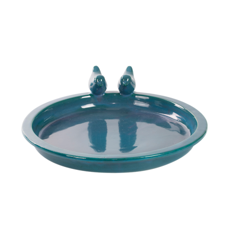 Duże ceramiczne poidło dla ptaków turkusowe