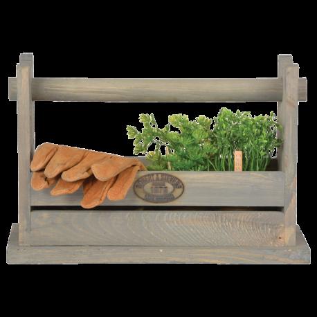 Drewniany organizer na narzędzia i stołek ogrodniczy