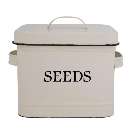 Duży emaliowany pojemnik do przechowywania nasion