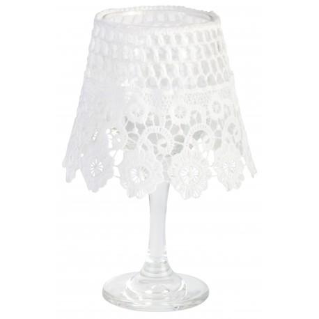 Mały świecznik tealight z koronkowym kloszem
