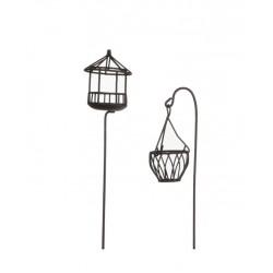 Mini garden kwietnik oraz klatka dla ptaków