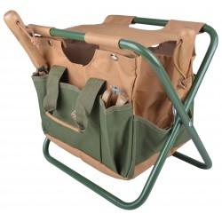 Stołek ogrodnika z przypinaną torbą narzędziową