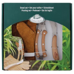 Zestaw dla ogrodnika skórzane rękawice, nożyk oraz sekator