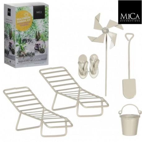 Mini ogródek zestaw plażowy leżaki, klapki łopatka wiaderko i wiatraczek