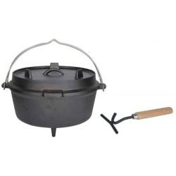 Żeliwny kociołek Dutch Oven do użycia na ognisku i palenisku
